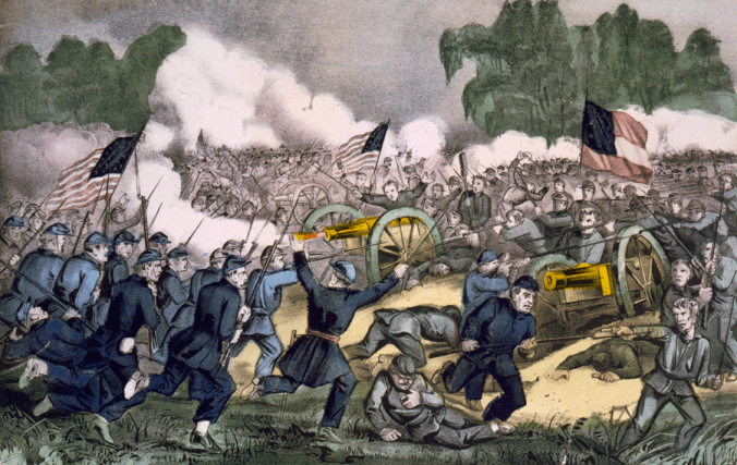 Hand-colored lithograph depicting the battle of Gettysburg.